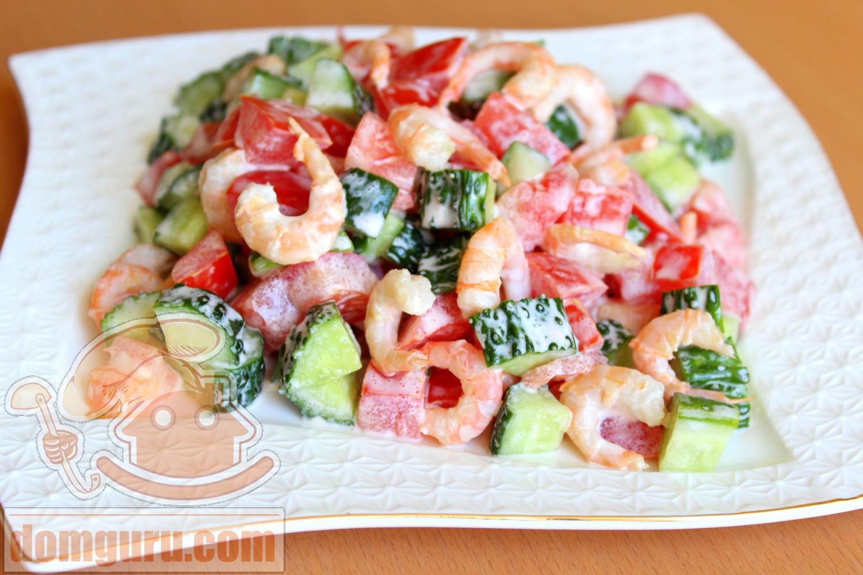салат с креветками и свежими огурцами рецепт с фото