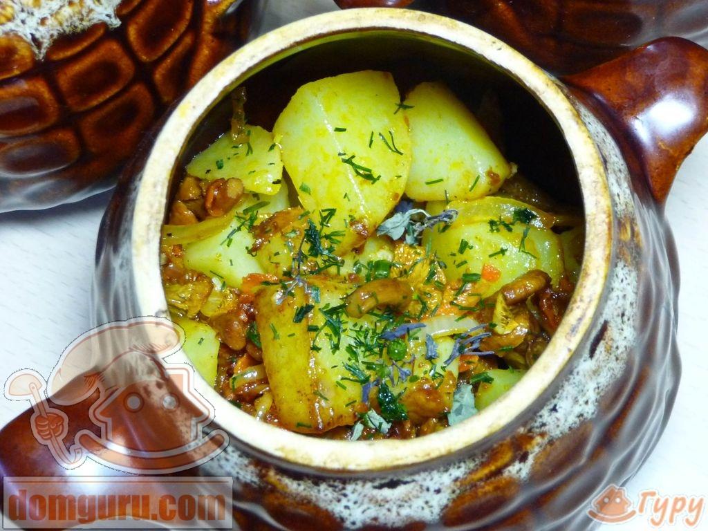 Картофель в горшочке со сметаной